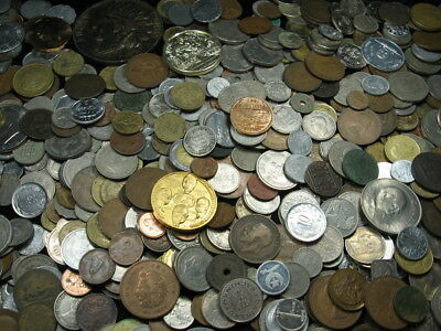 8 pounds assorted old world foreign coin token medal lot