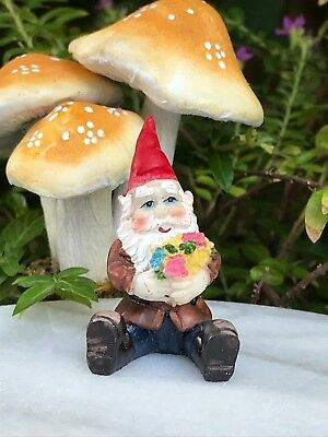 Miniature Dollhouse FAIRY GARDEN Accessories ~ Mini Gnome Figurine with Flowers