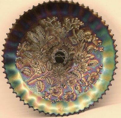 """Vintage """"Good Luck"""" Plate Carnival Glass"""