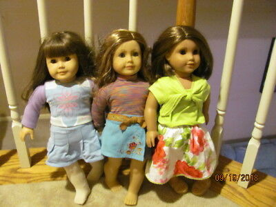 Lot of 3 American Girl Dolls WITH OUTFITS