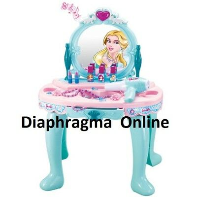 New Girls Pink Green Dressing Table Vanity Mirror Play Set Toy Make Up Desk
