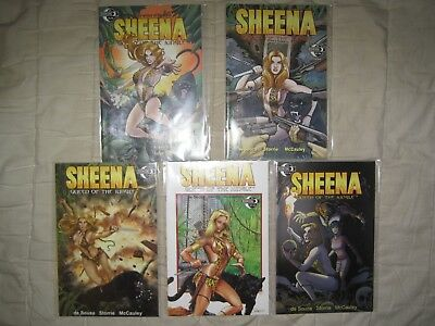 Lot 5 Sheena Queen Of The Jungle 1 2 3  + 2 Variants - Rare Moonstone Publisher