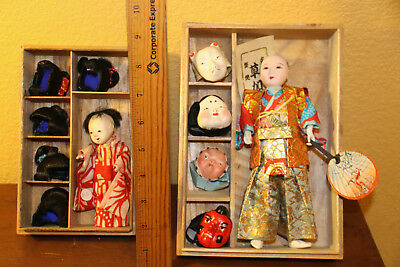 Gofun Japanese vintage dance doll, and doll with wigs