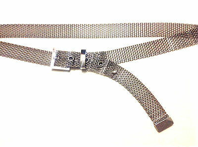 "Ladies Mesh Belt Silver-tone with Eyelets 34"" - 38"" 1980s"