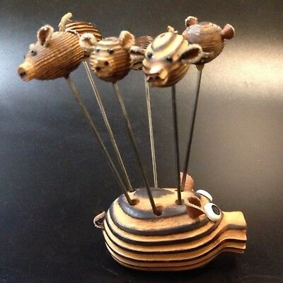 Retro Fun - Wood Cocktail Fork Set x 7 - Pig & 6 Piglets w Leather tails & Ears