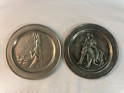 Lot of 2 Vtg 1970's Selandia Norway Pewter Plates Jesus Religious Numbered Rare