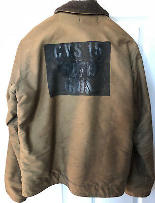 Original WW2 USN Deck Jacket Khaki US Navy Alpaca Wool Lined USS Randolph CVS 15