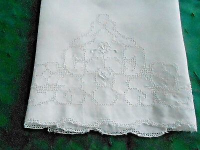 Antique Towel With Mosaic Hand Embroidery, White Linen Fabric, Vintage 1920