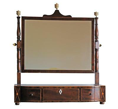 George III Inlaid Mahogany Swell Front Three Drawer Shaving Mirror
