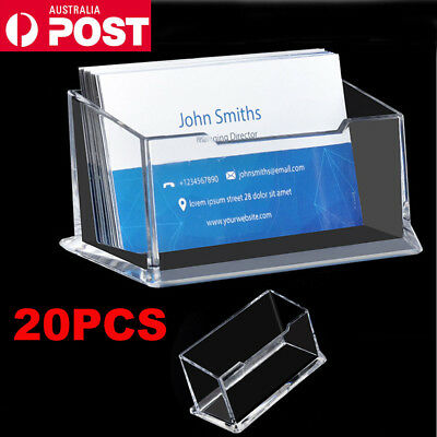 20 X Clear Desktop Business Card Holder Display Stand Plastic Desk