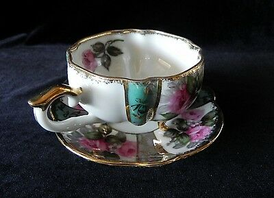 NAPCO Hand Painted Pink Roses Footed Cup & Saucer IDD240