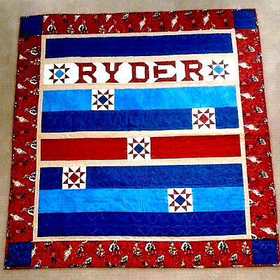 One-of-a-kind Cowboy Quilt for boy named Ryder, 54 x 57, stars & roping cowboys