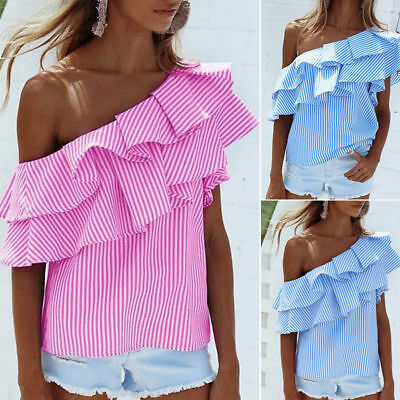 Fashion Womens Off-shoulder Short Sleeve Casual Blouse Loose Stripe Tops T-Shirt