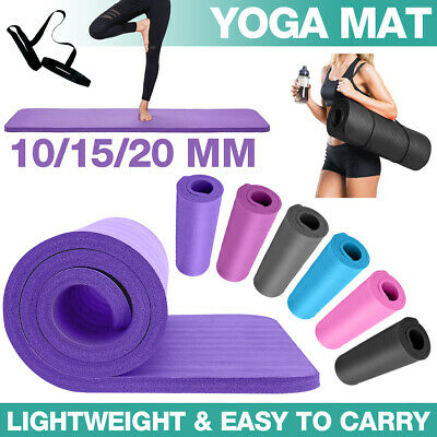 10/15/20MM Thick Yoga Mat Pad Nonslip Exercise Fitness Pilate Gym W/ Carry Strap