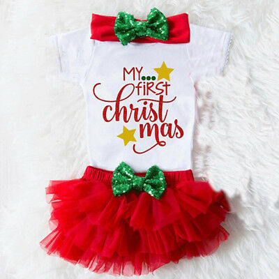 US Stock Newborn Baby Girl My First Christmas Romper+Tulle Pants Clothes Outfits