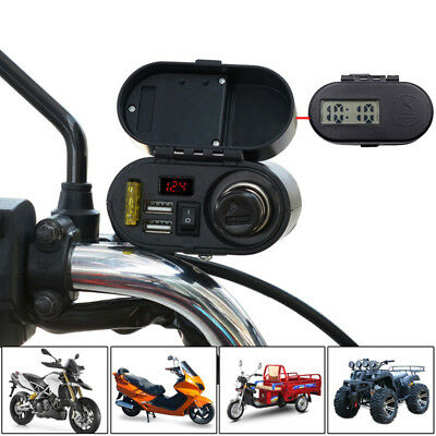 12/24V Motorcycle Cigarette Lighter Socket +Dual USB Charger Power Ports +Switch