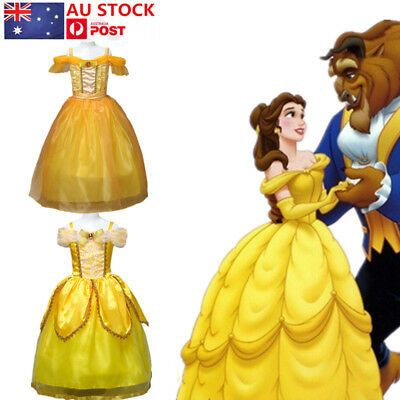 Kids Girls Princess Belle Dress Costume Beauty and The Beast Fancy Party Gown AU