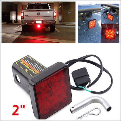 "Car Red 12LED Bright Brake Light Trailer Hitch Tail Light Fit 2"" Receiver w/ Pin"