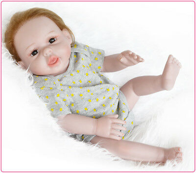 50CM Reborn Baby Blue Brown Eyes Boy Toy Soft Vinyl Silicone Dolls Handmade Gift
