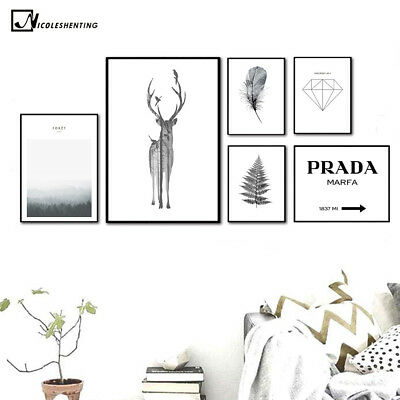 Deer Feather Canvas Poster Decoration Nordic Abstract Minimalist Art Print Leave