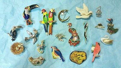 Vintage Antique Lot of 19 Bird Brooches Pins Enamel & Rhinestone Mixed Materials