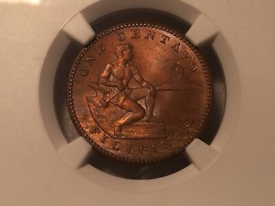 """Philippines 1908 S """"Horned """" S NGC MS 63 BN Allen 2.06a Choice Uncirculated"""
