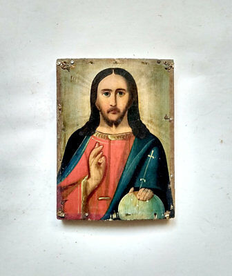 Antique Orthodox Icon Jesus Christ Russian Empire Hand Painted Board 17x12.5cm