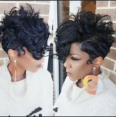 SYNTHETIC SHORT CURLY Black Hair Pixie Cut