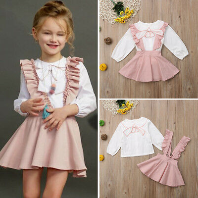 US Toddler Kids Baby Girl Ruffle Tops Shirt Suspender Skirt Dress Outfit Clothes