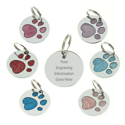 Personalised Engraved Glitter Paw Print Tag Dog Cat Pet ID Tags BUY 2 GET 1 FREE