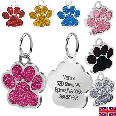 FREE ENGRAVING Dog Cat ID Name Bling Tag Paw Personalised Puppy Pet ID Identity