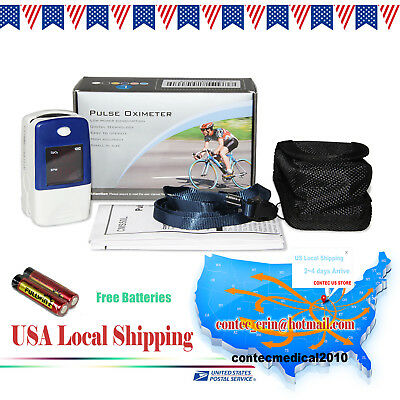 US sell Fing tip Pulse Rate Oximeter Spo2 Monitor Blood oxygen PR CASE+battery
