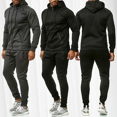 Ensemble survêtement jogging homme Sweat Pantalon Sport rayures cycliste motarde