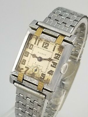 1920s VINTAGE BULOVA CAMBRIDGE ART DECO 9AT MENS WATCH – FANCY SWIVEL LUGS