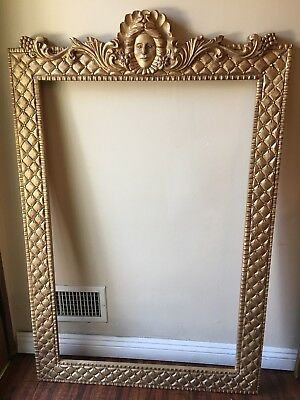 Large Gilt Hand Carved wood Ornate Floral Baroque style Picture Mirror Frame