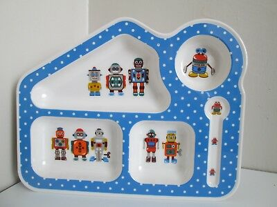 Cath Kidston Kids Robots Blue Melamine Baby Toddler Food Tray Sectioned Plate