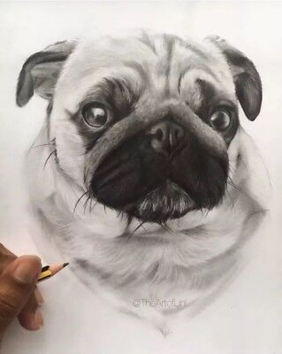 Custom Pet Portrait A5 Pencil Drawing Gift, Personalized Christmas Gift