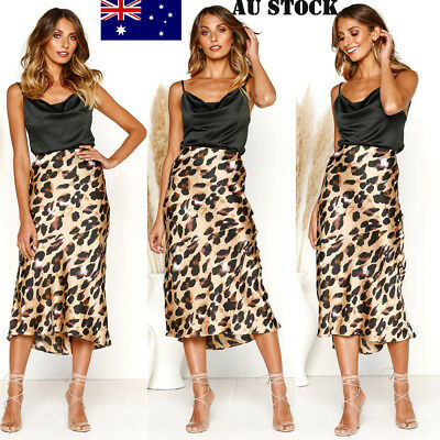AU Women Midi Skirt High Waist Leopard Print Bodycon Long Maxi Skirt Beach Dress