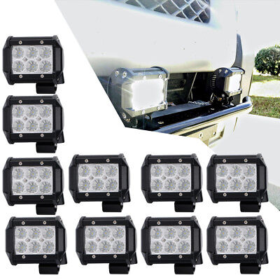 10x 18W 4IN LED WORK LIGHT BAR FLOOD DRIVING AUTO TRUCK TRACTOR UTE 4WD LAMP UTV