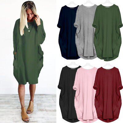 Womens Casual Loose Party Holiday Tops Retro Ladies Baggy Long Sleeve Maxi Dress