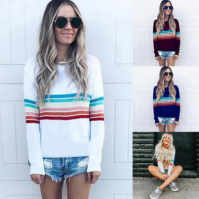 Women Rainbow Stripe Long Sleeve Loose T-Shirt Top Knit Pullover Sweatshirt Coat