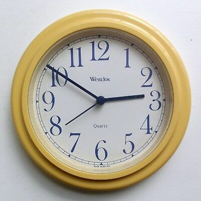 Vintage Retro Westclox Yellow Wall Clock - Blue Numerals, Hands -Made in Britain