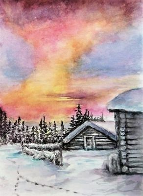 ACEO Winter painting original sunset Woodland snow cabin watercolour art card