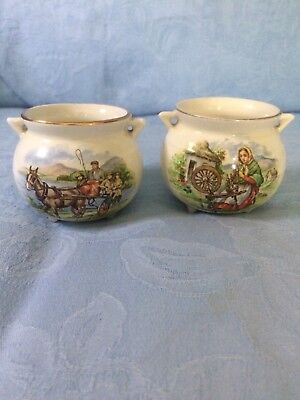 Two vintage Arklow Pottery Country Scenes cauldrons