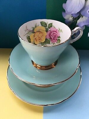 Vintage Harleigh Bone China Spearmint Tea Set Trio,Teacup,Saucer & Tea Plate
