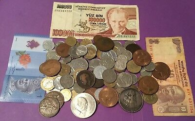 Job Lot Of World Coins, Banknotes & A Crown #15. No Reserve