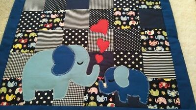 Handmade patchwork cot quilt/ play mat Funky and Bright