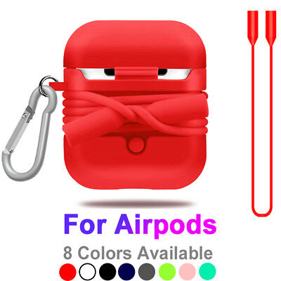 For Apple Airpods Silicone Case Cover Protective Magnet Anti-lost Wire With Hook
