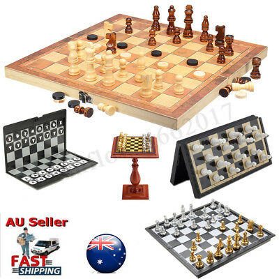 Vintage Folding Wooden Chess Set Chessboard Pieces Wood Board Kids Learning Toy