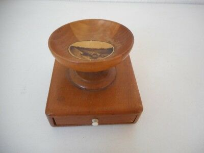 Interesting ALDEBURGH BEACH Mauchline Ware Dish and Draw Combo - Desk Accessory